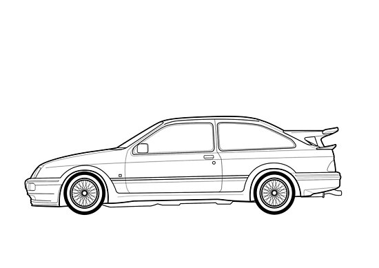 Ford Sierra Rs Cosworth Outline Drawing Posters By