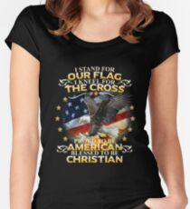 I Stand For Our Flag I Kneel For The Cross American Christian Women's Fitted Scoop T-Shirt