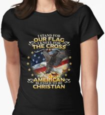 I Stand For Our Flag I Kneel For The Cross American Christian Women's Fitted T-Shirt