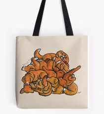 Sleeping pile of Toller dogs Tote Bag