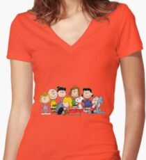 Peanuts, Charlie Brown, Snoopy Women's Fitted V-Neck T-Shirt