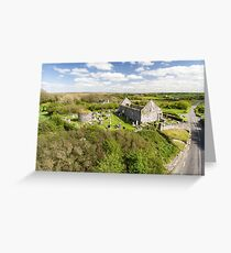 Aerial view of a beautiful old ruins of an Irish church  Greeting Card