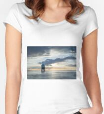 Lower Lighthouse at Burnham on Sea Women's Fitted Scoop T-Shirt