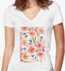 Floral Dance Women's Fitted V-Neck T-Shirt