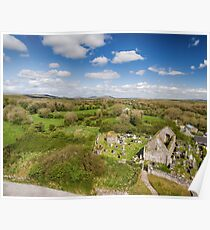 Aerial view of a beautiful old ruins of an Irish church and burial graveyard in county clare, Ireland. Set in the burren national park countryside landscape. Poster