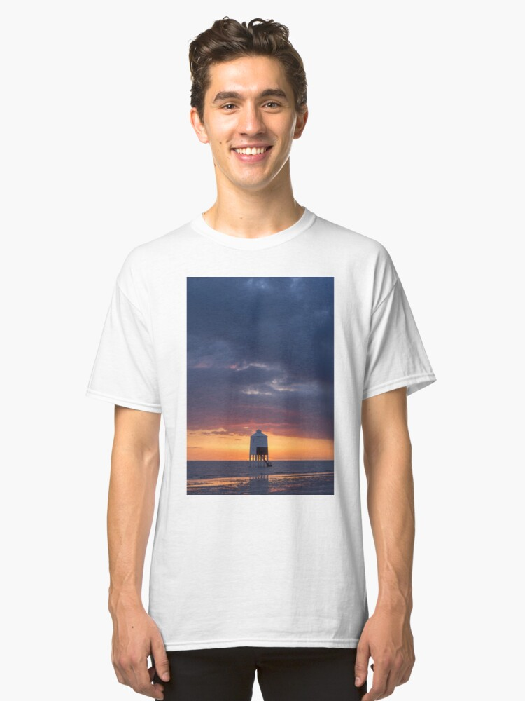 Sunset at the Lower Lighthouse at Burnham on Sea Classic T-Shirt Front