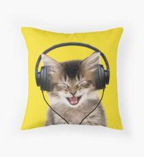Cute Tabby kitten wearing headphones singing Throw Pillow