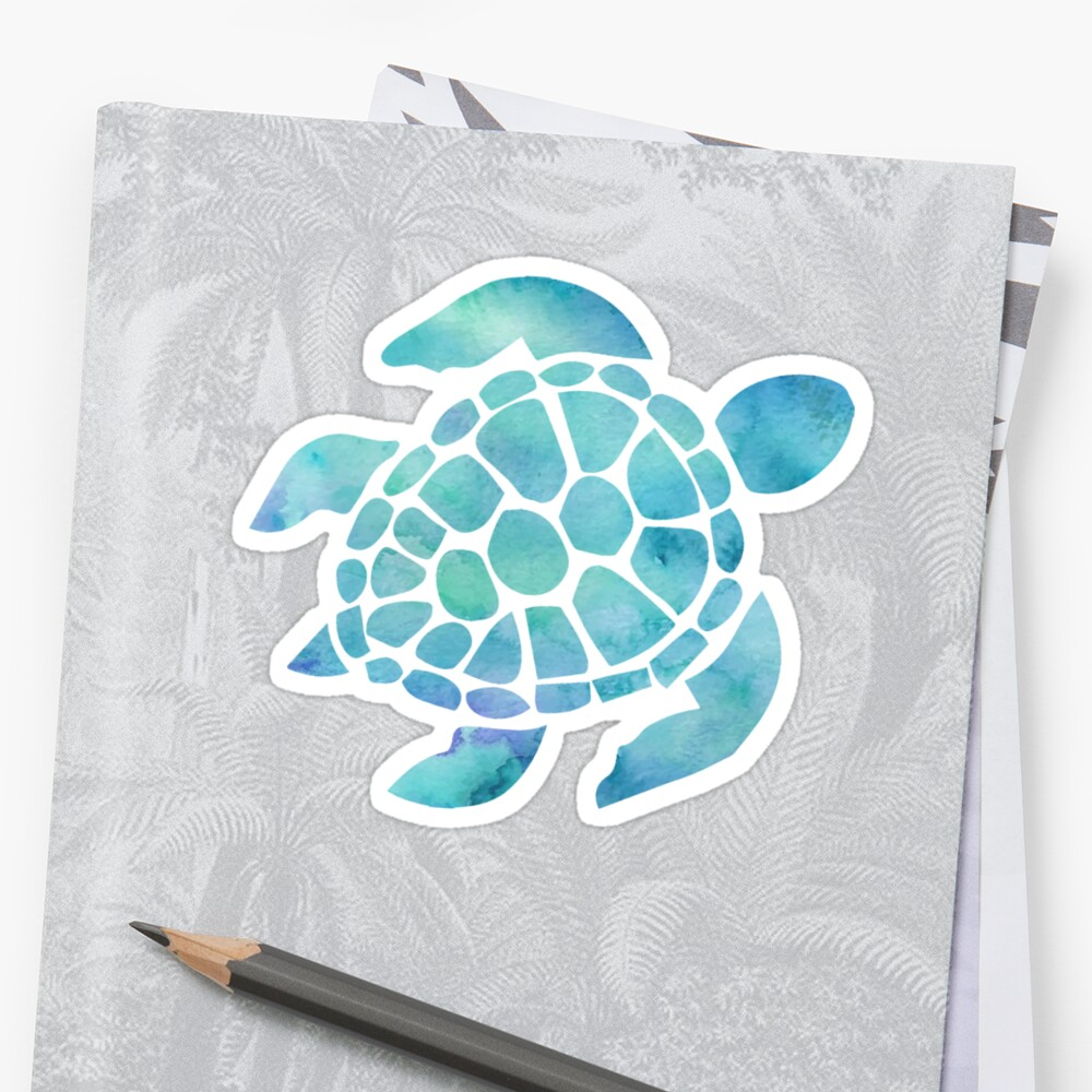 Quot Sea Turtle Watercolor Blue Quot Stickers By Livpaigedesigns