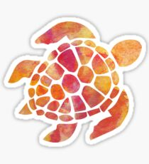 Sea Turtle Watercolor Red Sticker