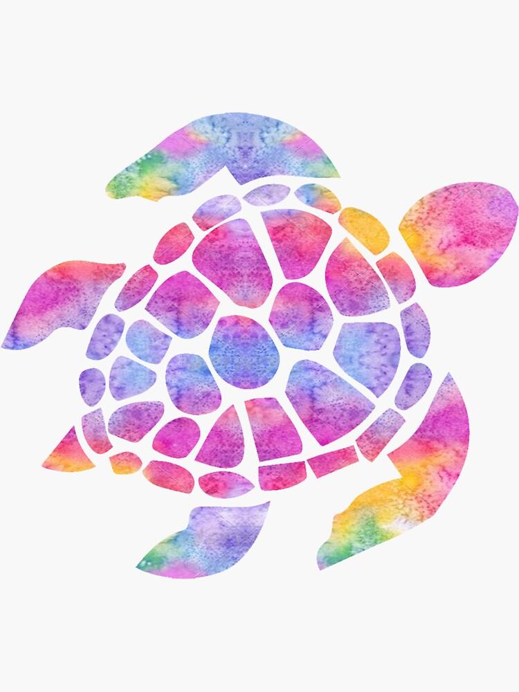 Tortuga marina acuarela arco iris de livpaigedesigns