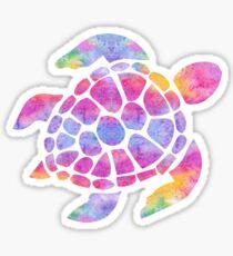 Pegatina Tortuga marina acuarela arco iris
