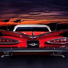 1959 Chevrolet Impala Convertible on road in sunset art print by ArtNudePhotos