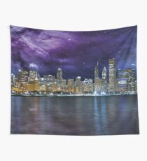 Spacey Chicago Skyline Wall Tapestry