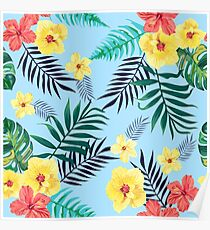 Seamless colorful tropical vector illustration. Poster