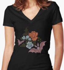 Botanical - moths and night flowers Women's Fitted V-Neck T-Shirt