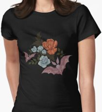 Botanical - moths and night flowers Women's Fitted T-Shirt