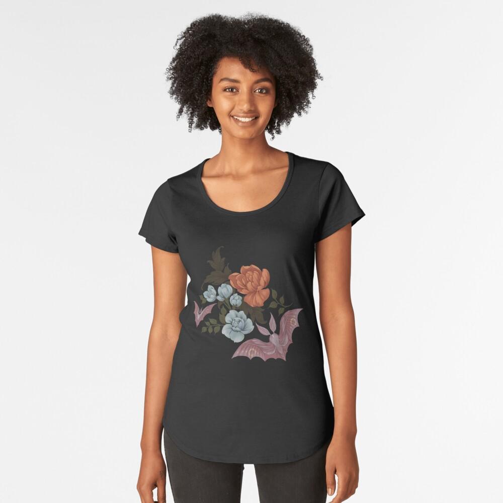 Botánico - polillas y flores nocturnas Camiseta premium de cuello ancho