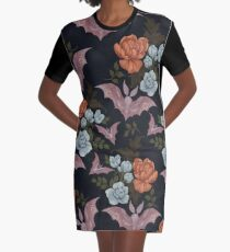 Botanical - moths and night flowers Graphic T-Shirt Dress