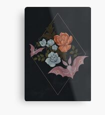 Botanical - moths and night flowers Metal Print