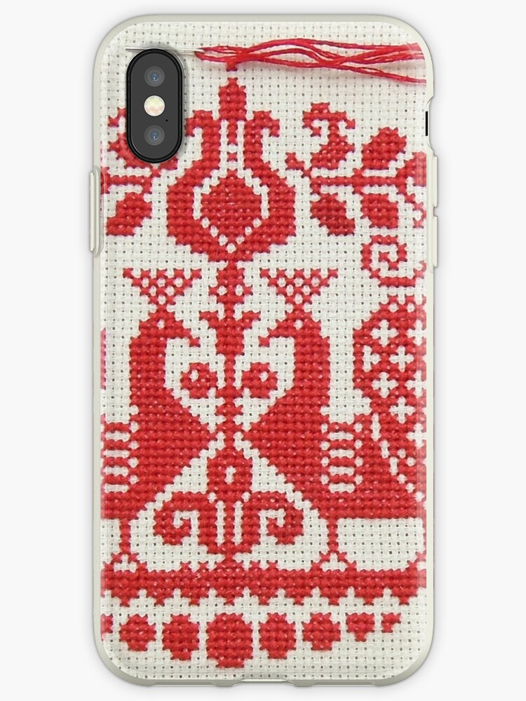 info for 86e52 acd2c 'stitch phone case. cross stitch red and white design. ' iPhone Case by  Sharpy Images