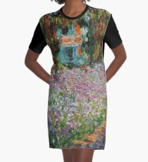 Irises In Monet's Garden At Giverny by Claude Monet Graphic T-Shirt Dress