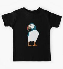Puffin on black Kids T-Shirt