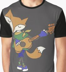 Funny Cool Foxy Red Fox Playing Guitar Graphic T-Shirt