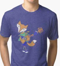Funny Cool Foxy Red Fox Playing Guitar Tri-blend T-Shirt