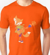 Funny Cool Foxy Red Fox Playing Guitar T-Shirt