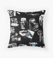 Captured Vintage Camera Repeat Throw Pillow