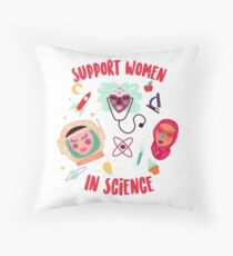 Support Women in Science Throw Pillow