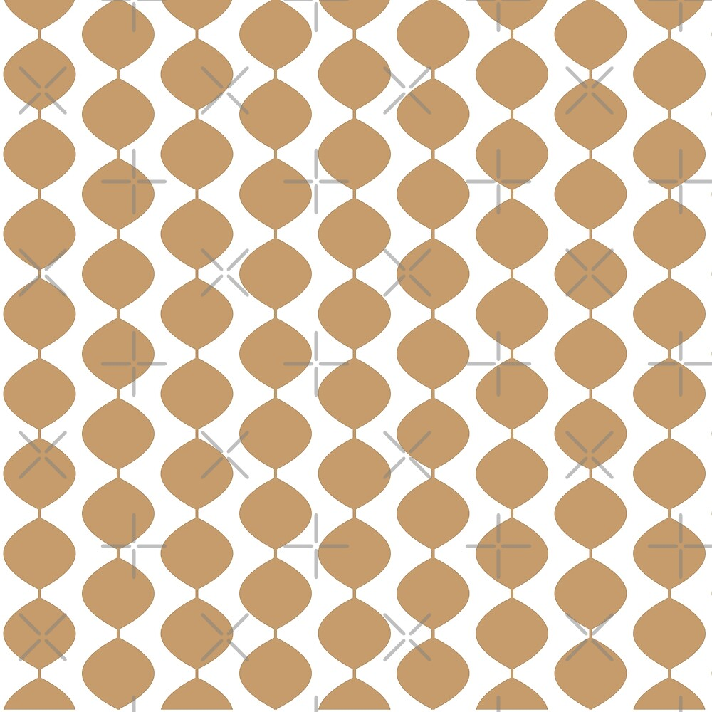 Mid Century Modern Retro 60s Waves Pattern Pale Warm Brown By Makanahele