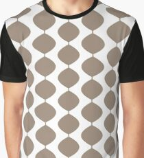 Mid Century Modern Retro 60s Waves Pattern  (Light Cool Brown) Graphic T-Shirt