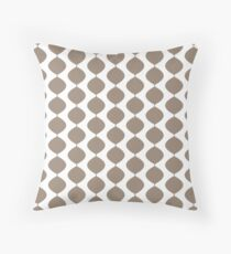 Mid Century Modern Retro 60s Waves Pattern  (Light Cool Brown) Throw Pillow