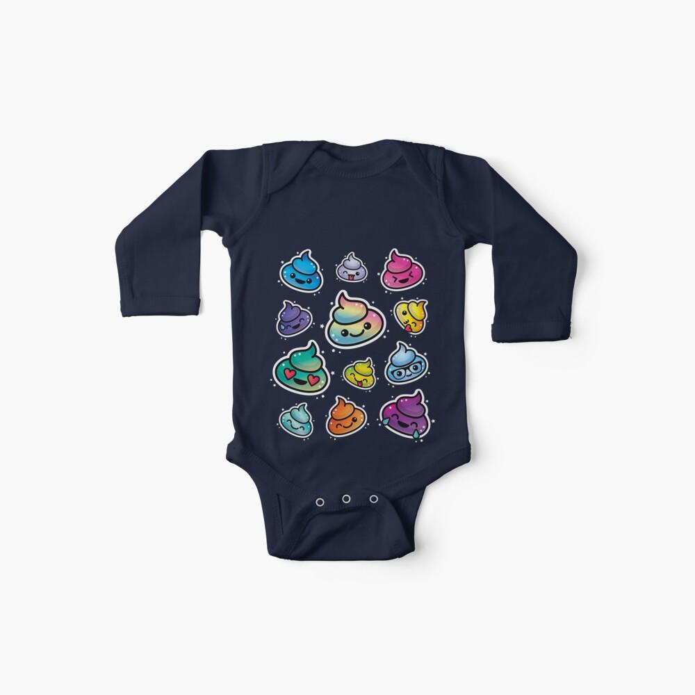Netter Poop Emoji: Mädchen u. Jungen Regenbogen Emoji Gesichter Baby Bodys