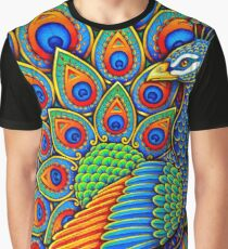 Colorful Paisley Peacock Bird Graphic T-Shirt