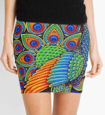 Colorful Paisley Peacock Bird Mini Skirt