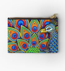 Colorful Paisley Peacock Bird Studio Pouch