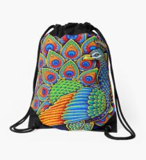 Colorful Paisley Peacock Bird Drawstring Bag