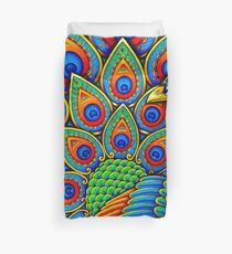Colorful Paisley Peacock Bird Duvet Cover