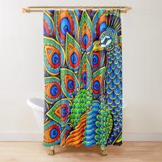 Colorful Paisley Peacock Rainbow Bird Shower Curtain