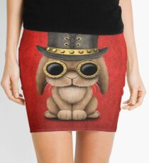 Steampunk Baby Bunny Rabbit on Red Mini Skirt