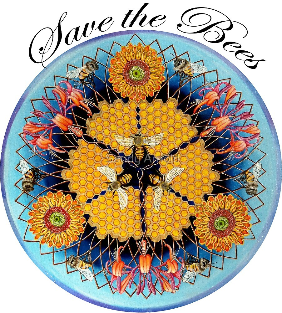 Bee Mandala with Black Lettering by Sandy Arnold