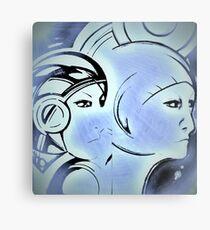 Art Deco blue space faces Jacqueline Mcculloch Metal Print