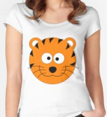 Funny Tiger Cartoon Pattern Women's Fitted Scoop T-Shirt