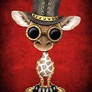 Steampunk-Baby-Giraffe, die Spitzenhut trägt von jeff bartels