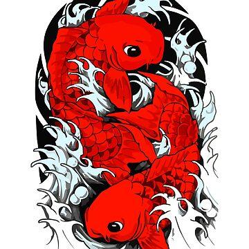 Red Beautiful Koi Fish Tattoo  by Gavinstees