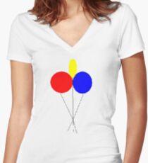 Colour Ballons Women's Fitted V-Neck T-Shirt