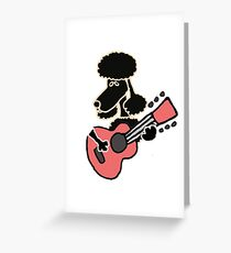 Cool Funny Poodle Dog Playing Guitar Greeting Card