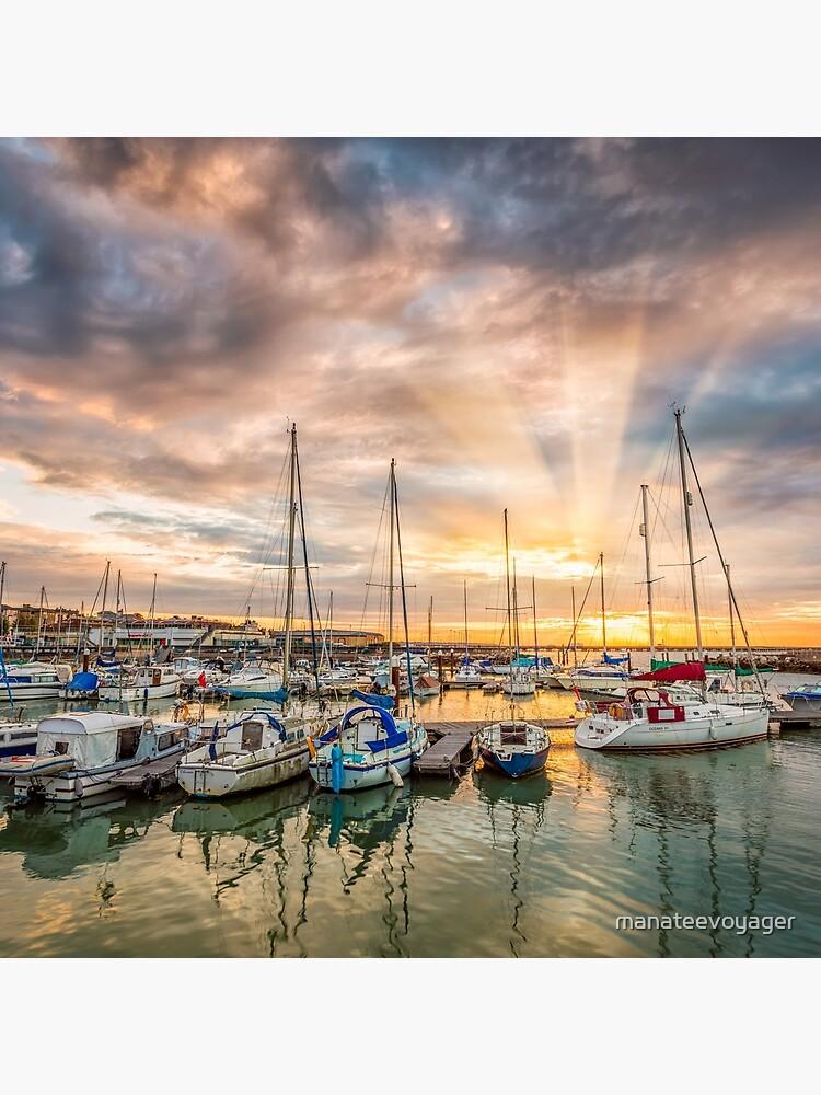 Ryde Harbour Sunbeam Sunset by manateevoyager